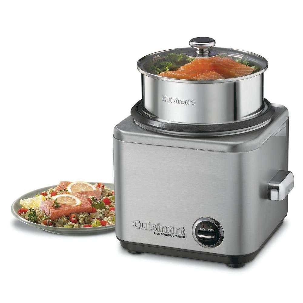 8-Cup Rice Cooker, Stainless Now making the perfect rice dish is easy with the new brushed stainless Cuisinart CRC-800 8-Cup Rice Cooker. Its steam vent helps to prevent splattering, while its chrome-plated handles stay cool to the touch. Use the Built-in tray to steam other foods while the rice is cooking; when you're done, the non-stick coating and durable construction make cleanup a breeze.