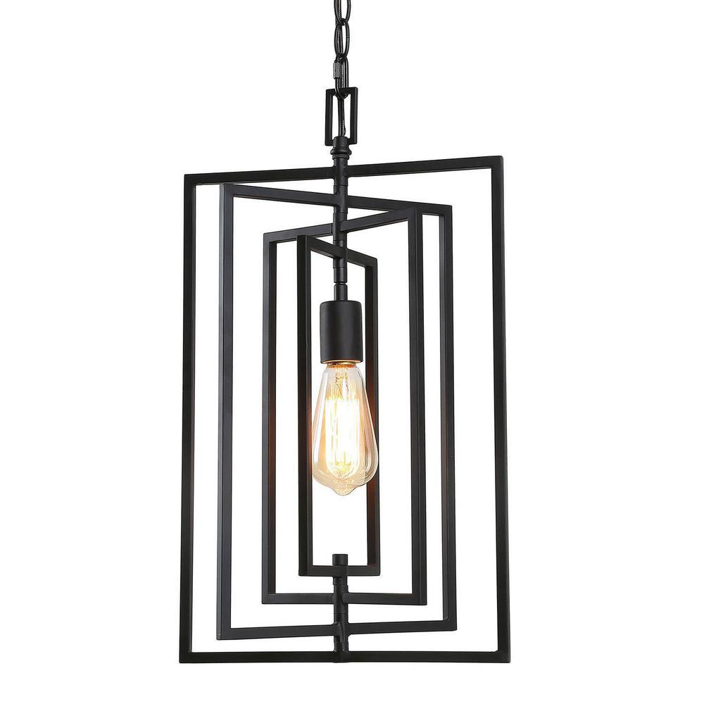 Laluz Minimalist 1 Light Black Farmhouse Modern Mini Pendant Light With Adjustable Metal Chain Chandeliers Of Rectangle Shape Llzzvihl13606rz The Home Depot