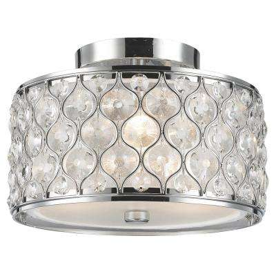 Paris 3-Light Polished Chrome with Clear Crystal Flushmount