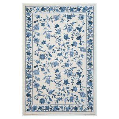 Wedgewood Floral Ivory/Blue 5 ft. 3 in. x 8 ft. 3 in. Area Rug