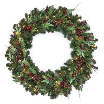 48 in. Woodmoore Pre-Lit LED Artificial Christmas Wreath