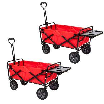 Collapsible Folding Outdoor Utility Wagon Cart w/ Table, Red (2-Pack)