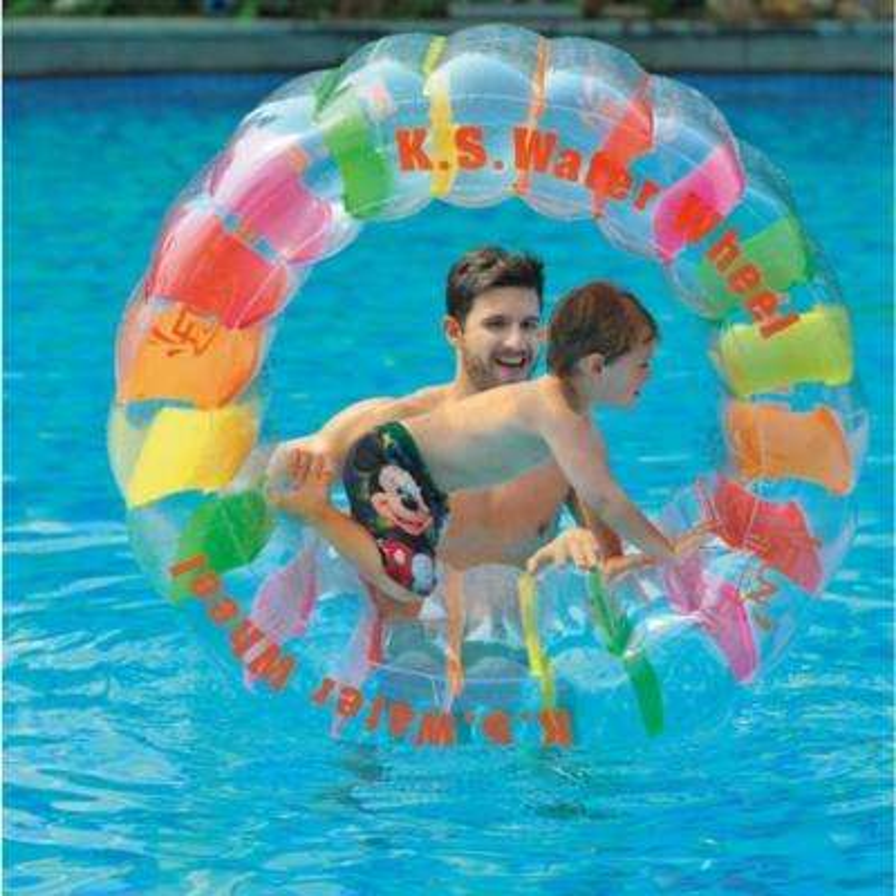 49 in. Multi-Colored Inflatable Kid-Ster Water Wheel Pool Float