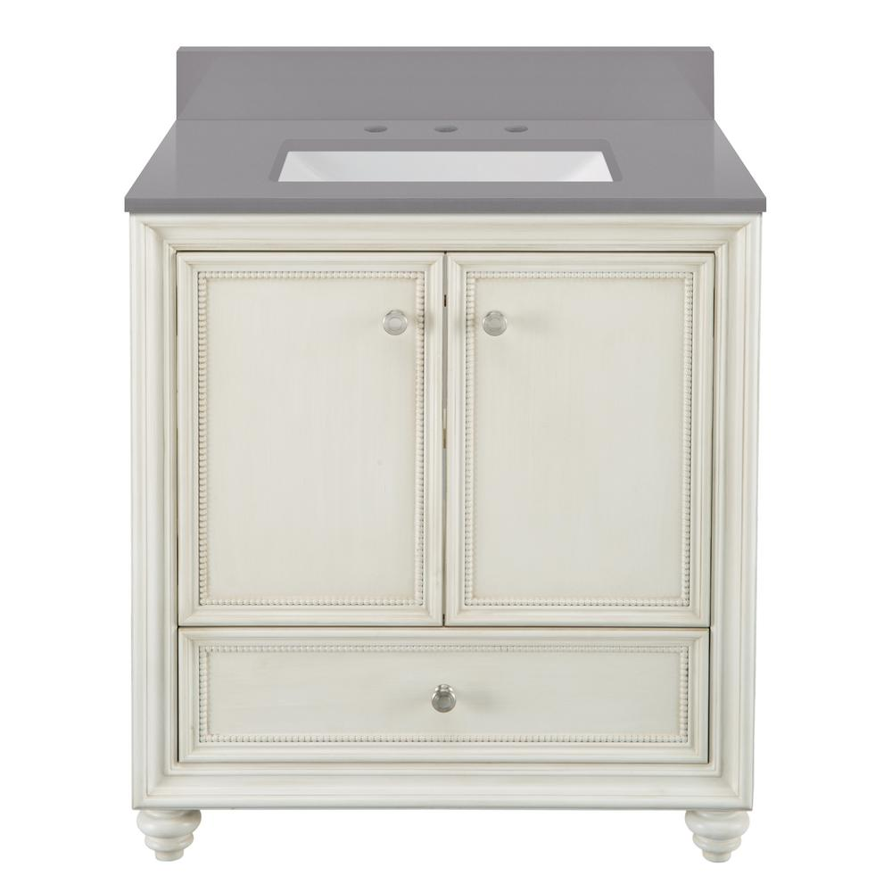 Home Decorators Collection Dellwood 31 in. W x 22 in. D Bath Vanity in Antique White w/ Engineered Marble Vanity Top in Slate Grey w/ White Sink