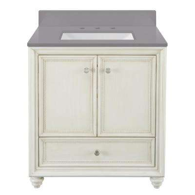 Dellwood 31 in. W x 22 in. D Bath Vanity in Antique White w/ Engineered Marble Vanity Top in Slate Grey w/ White Sink