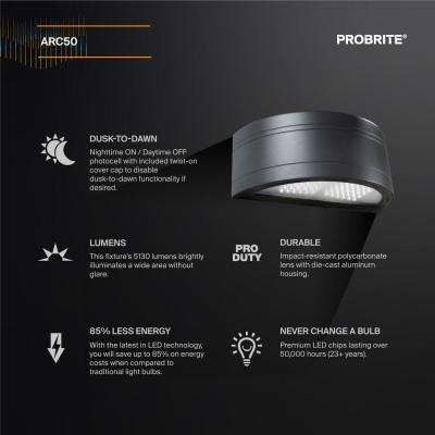 350-Watt Equivalent Integrated Outdoor LED Wall Pack, 5130 Lumens, Dusk to Dawn Outdoor Security Light (2-Pack)