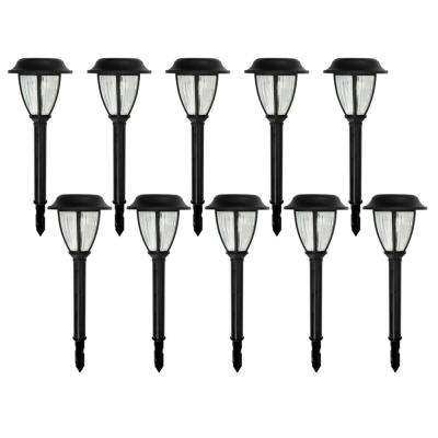 Solar Black Outdoor Integrated LED 3000K Warm White Landscape Path Light with Ribbed Glass Lens (10-Pack)