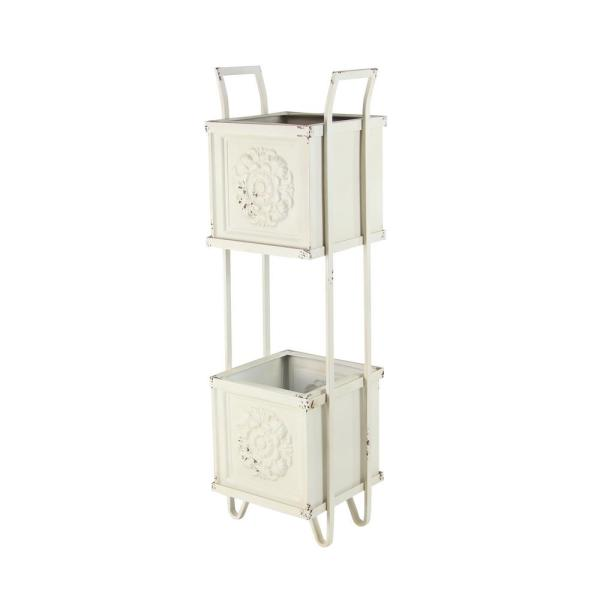Farmhouse 46 in. x 15 in. 2-Tiered white Planter Stand