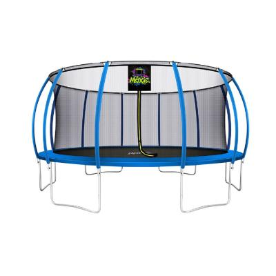16 ft. Blue Pumpkin-Shaped Outdoor Trampoline Set with Premium Top-Ring Frame Safety Enclosure