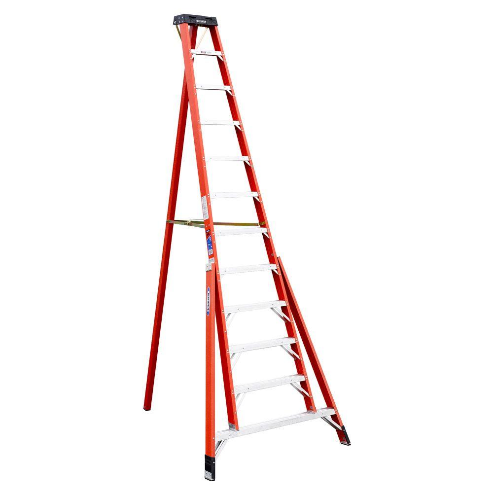 Werner 12 ft. Fiberglass Tripod Step Ladder with 300 lb. Load Capacity Type IA Duty Rating