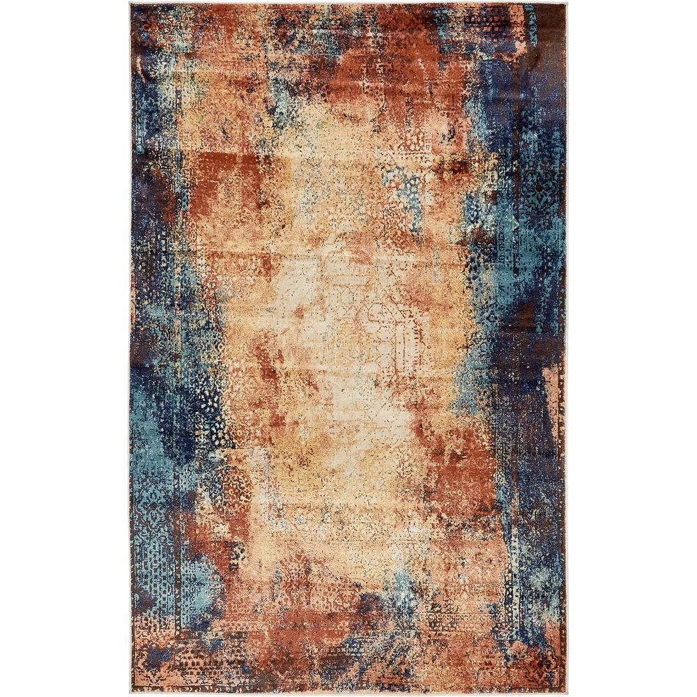 Brick Red Rag Rug: Unique Loom Mystic Brick Red 5' X 8' Rug-3137460