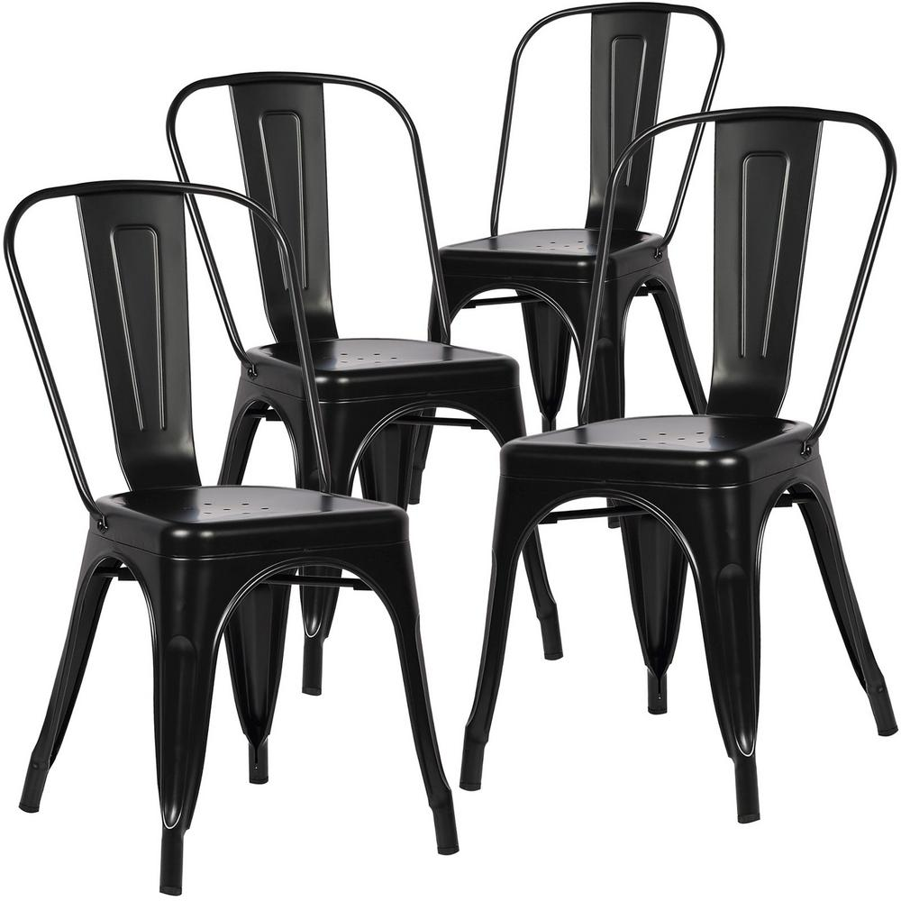 Trattoria Distredded Black Side Chair (Set of 4)