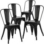Poly and Bark Trattoria Distredded Black Side Chair (Set of 4)