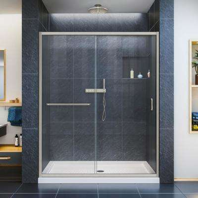 Infinity-Z 60 in. W x 74-3/4 in. H Framed Sliding Shower Door in Brushed Nickel with Left Drain Shower Base in Biscuit