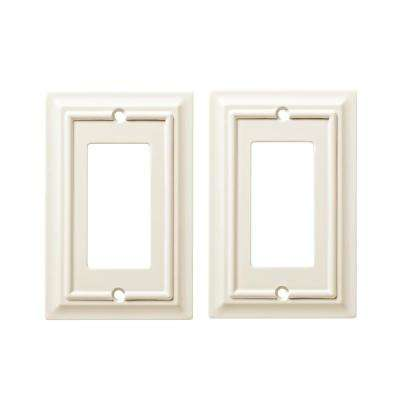 Architectural Wood Decorative Single Rocker Switch Plate, White (2-Pack)