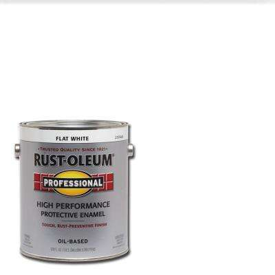 1 gal. High Performance Protective Enamel Flat White Oil-Based Interior/Exterior Paint (2-Pack)