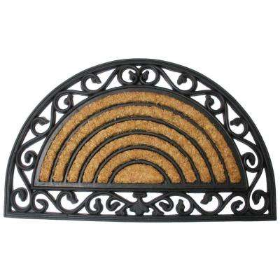 Heavy Wrought Iron Half Round 18 in. x 30 in. Natural Coir and Rubber Door Mat