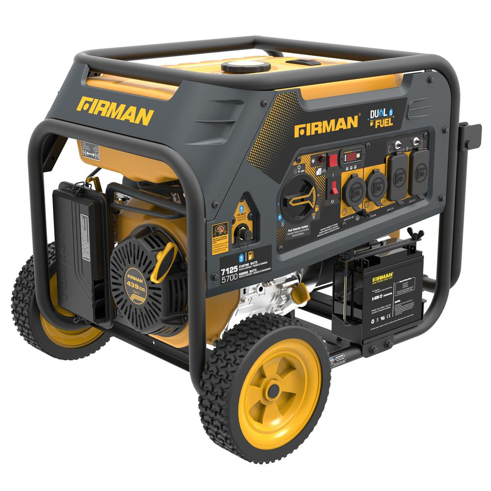 Hybrid 7125/5700-Watt Dual Fuel Recoil Start Portable Generator