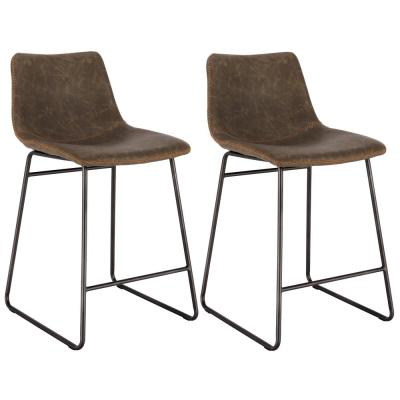 Classic 24 in. Coffee Brown Faux Leather Bar Stool (Set of 2)