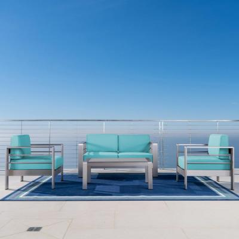 4-Piece Metal Patio Conversation Set with Sunbrella Canvas Aruba Cushions