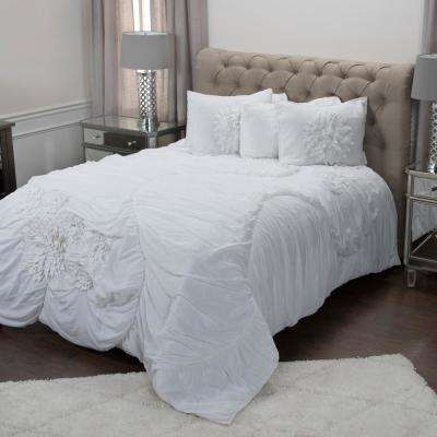 White Solid Flower Pattern 3-Piece Queen Bed Set