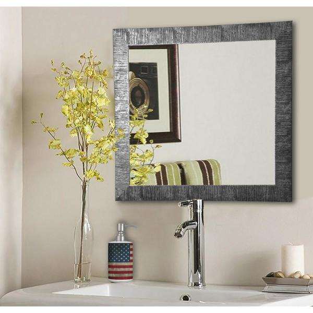 27.5 in. x 27.5 in. Safari Silver Square Vanity Wall Mirror