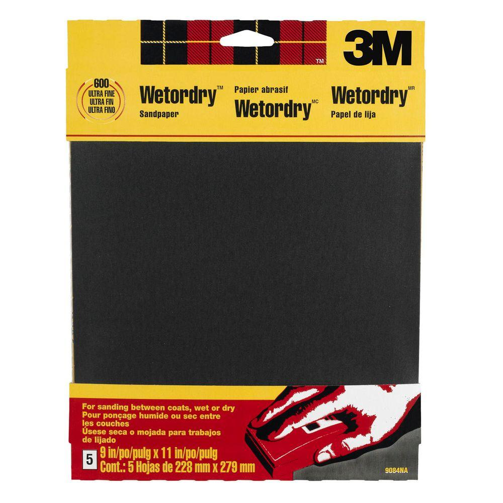 3M 9 in. x 11 in. 600 Grit Ultra Fine Silicon Carbide Sand Paper (5-Pack)