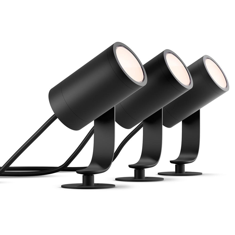 Philips Hue White and Color Ambiance Lily Black Outdoor Integrated LED  Landscape Smart Wireless Lights (3-Pack)