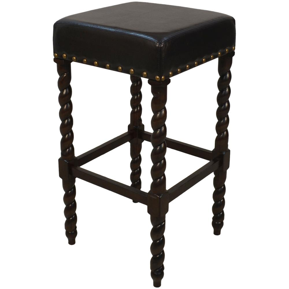 Espresso Barley Twist Upholstered Bar Stool