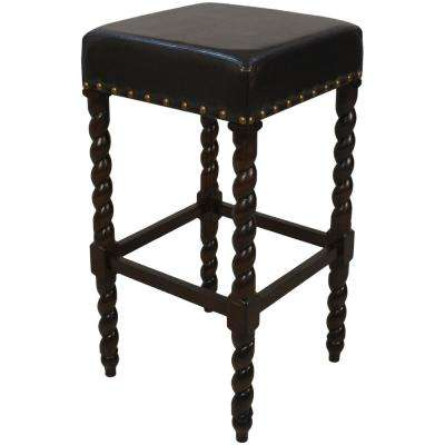 Remick 30 in. Espresso Barley Twist Upholstered Bar Stool