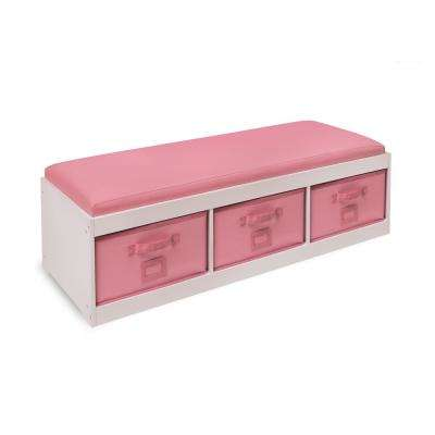 Kid's White/Pink Cushion and Three Bin Bench