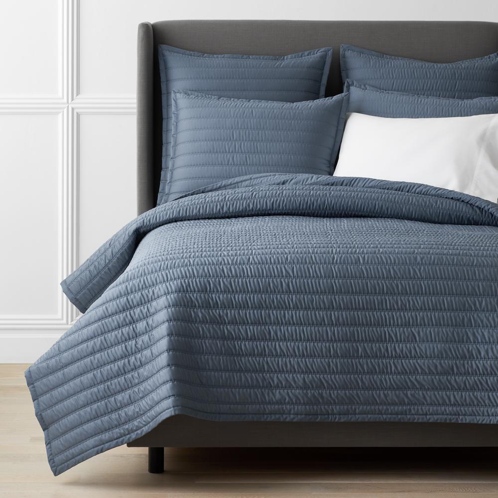 Legends Hotel Wrinkle-Free Steel Blue Striped Queen Cotton Sateen Coverlet