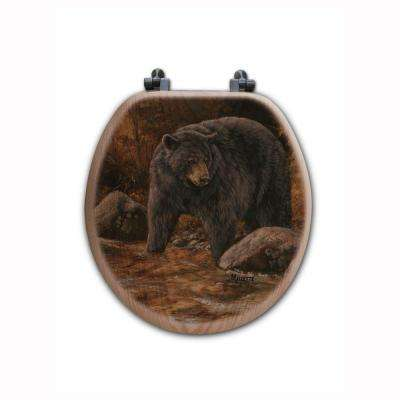 Streamside Bear Round Closed Front Wood Toilet Seat in Oak Brown