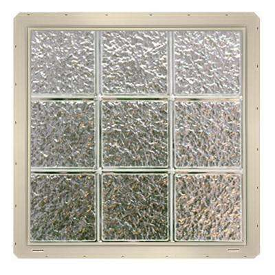 24.25 in. x 24.25 in. x 3.25 in. Ice Pattern Glass Block Window with Almond Colored Vinyl Nailing Fin