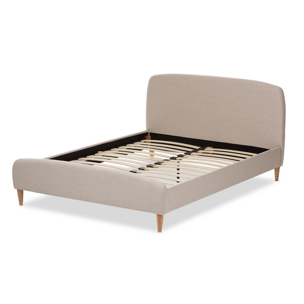 bc8ec44c61c6 Mia Mid-Century Beige Fabric Upholstered King Size Bed. by Baxton Studio