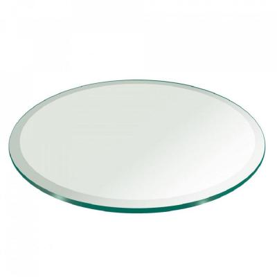 36 in. Clear Round Glass Table Top, 1/2 in. Thickness Tempered Beveled Edge Polished