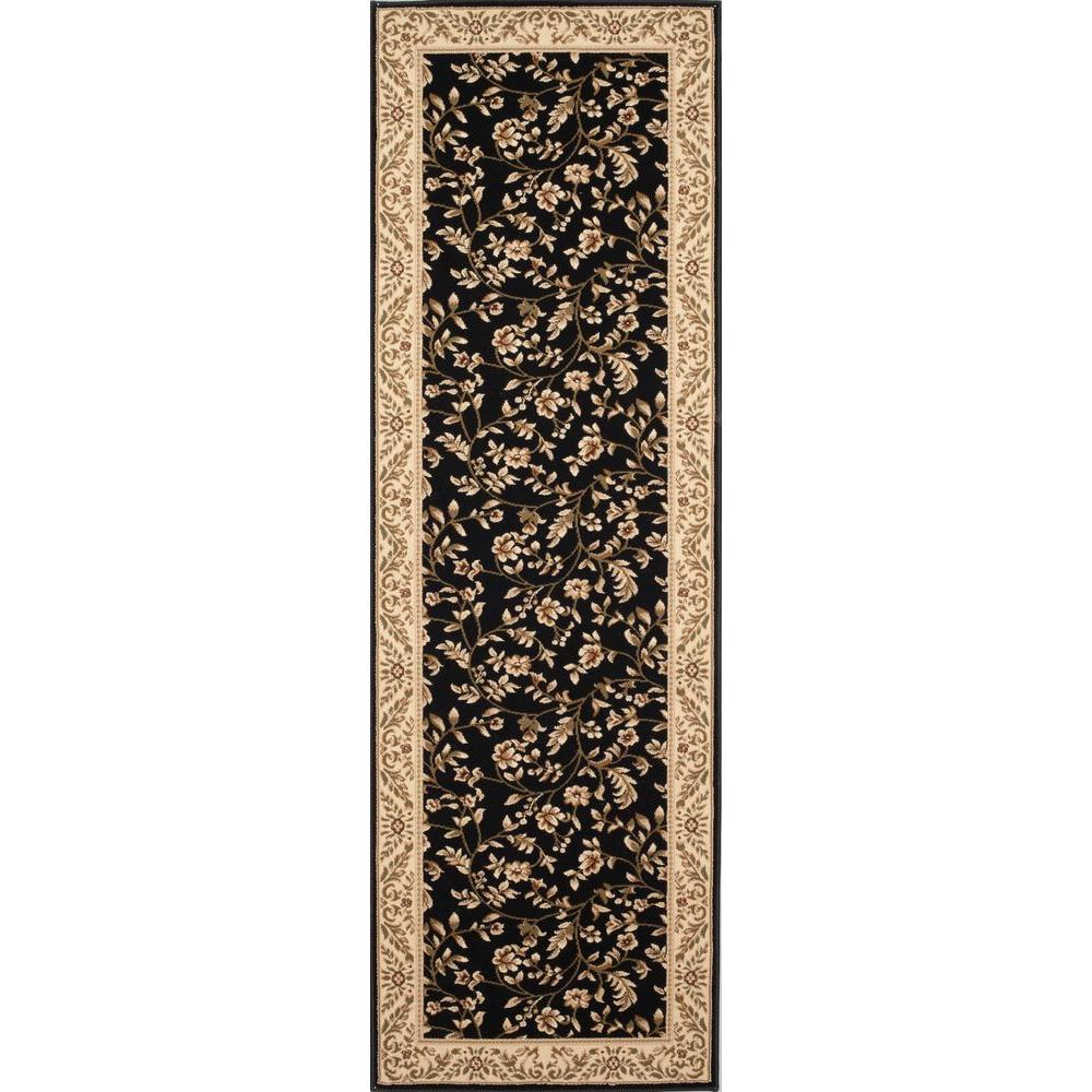 world rug gallery manor house black floral 3 ft x 8 ft runner rug 7861 the home depot. Black Bedroom Furniture Sets. Home Design Ideas