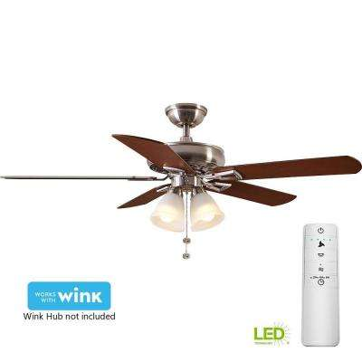 Lyndhurst 52 in. LED Brushed Nickel Smart Ceiling Fan with Light Kit and WINK Remote Control