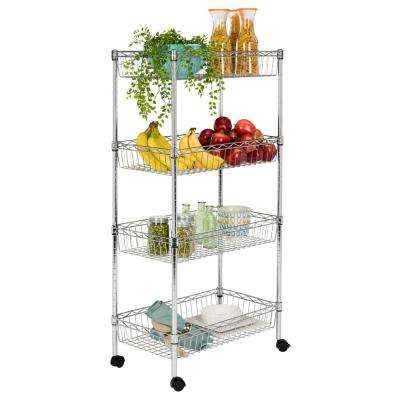 Grove 4-Shelf 47 in. Chrome Basket Rack with Casters