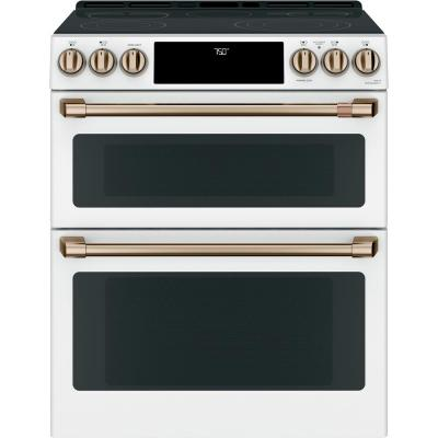 30 in. 7.0 cu. ft. Smart Slide-In Double Oven Electric Range with Convection in Matte White, Fingerprint Resistant