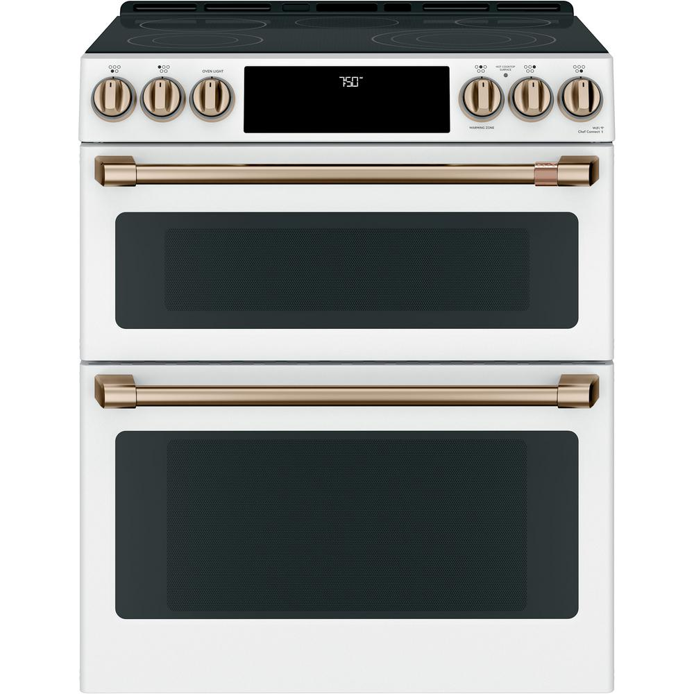 Cafe 30 in. 7.0 cu. ft. Slide-In Double Oven Electric Range with Convection in Matte White, Fingerprint Resistant