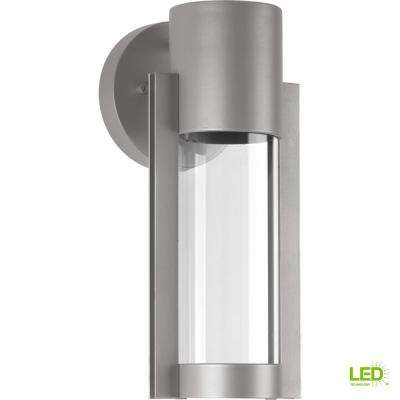 Z-1030 Collection 1-Light Metallic Gray 12 in. Outdoor Integrated LED Wall Lantern