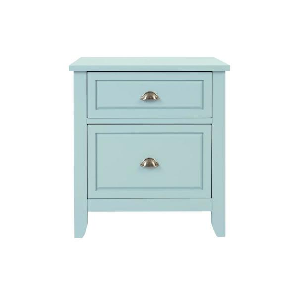 Cordale 2 Drawer Seabreeze Green Wood Nightstand (24 in W. X 26 in H.)