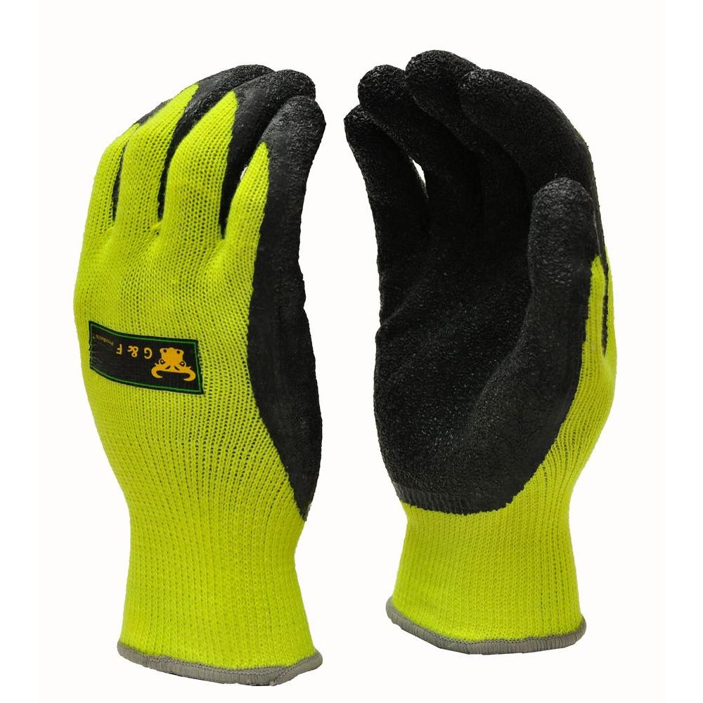 G & F Products Premium X-Large High Visibility All Purpose MicroFoam Double Texure Coating Safety Work and Garden Gloves