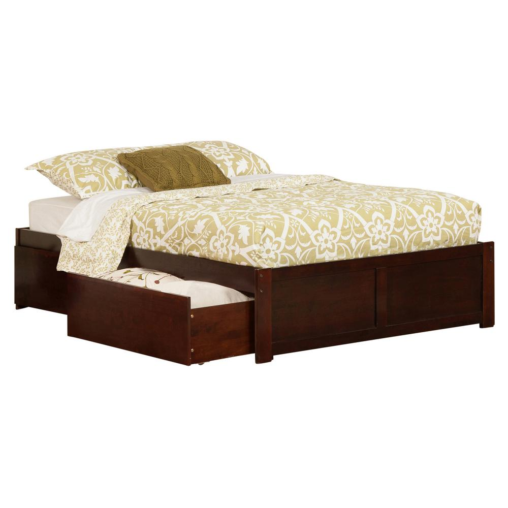 Atlantic Furniture Concord Walnut Full Platform Bed With Flat Panel Foot Board And 2 Urban