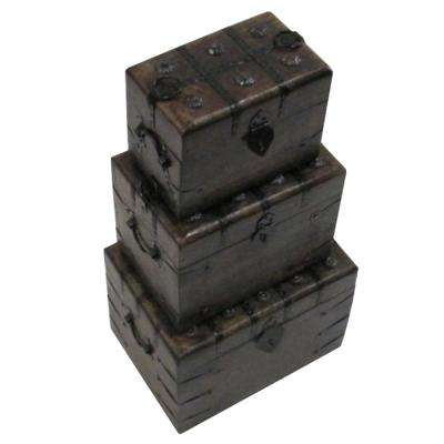 Classy Wooden Square Pirate Box with Iron Inlay (Set of 3)