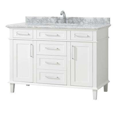 Sonoma 48 in. W x 22 in. D Vanity in White with Marble Vanity Top in White with White Basin