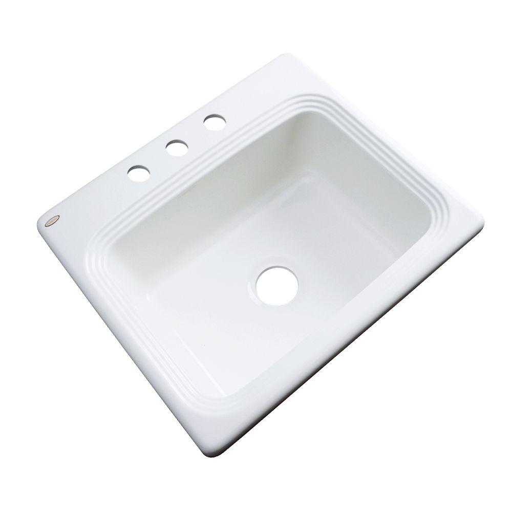 Thermocast Rochester Drop-In Acrylic 25 in. 3-Hole Single Basin Kitchen Sink in White