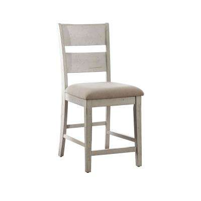 Kaylen Antique White Fabric Ladder Counter Height Chair (Set of 2)