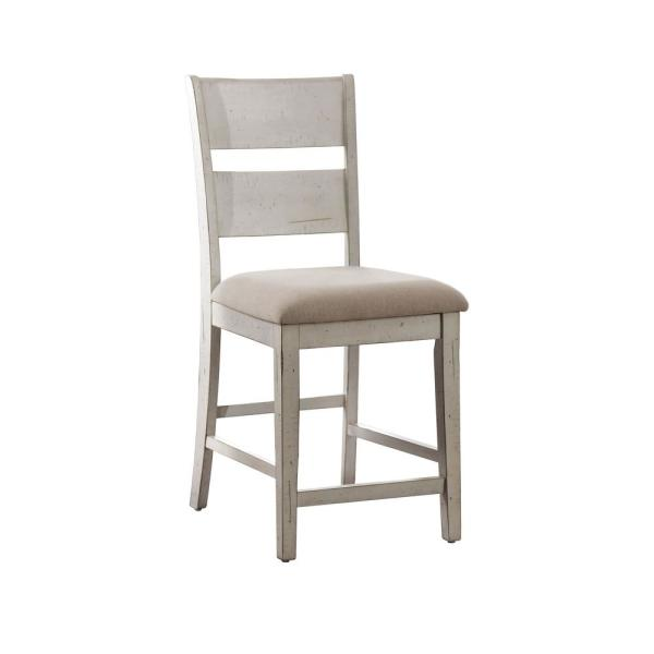 Furniture of America Kaylen Antique White Fabric Ladder Counter Height Chair
